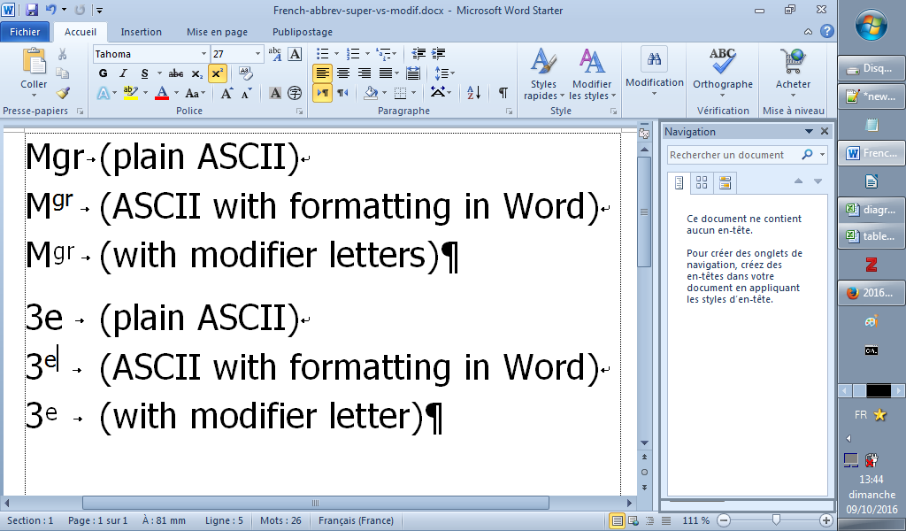 how to get superscript word